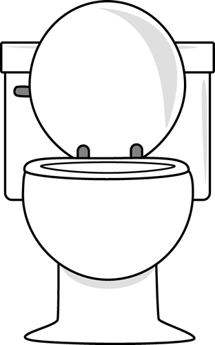 White Toilet With Lid Up