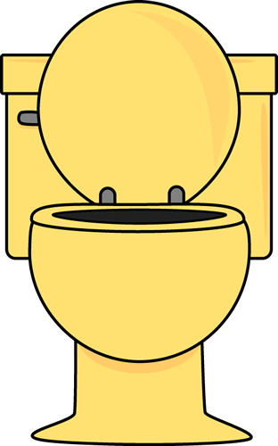 Yellow Toilet with Lid Up