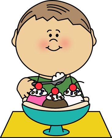 Eating Banana Split Clip Art