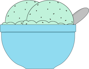Bowl of Mint Chocolate Chip Ice Cream Clip Art - Bowl of ...