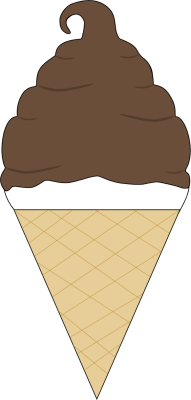 Chocolate Coated Soft Serve Ice Cream Cone