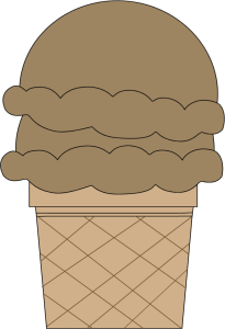 Chocolate Double Scoop Ice Cream Cone
