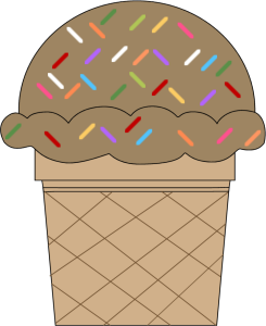 Chocolate Ice Cream Cone with Sprinkles