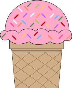 Strawberry Ice Cream Cone with Sprinkles