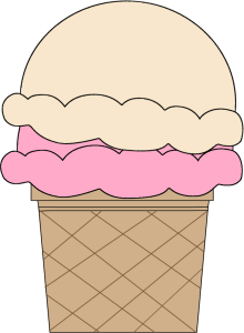 Strawberry and Vanilla Ice Cream Cone