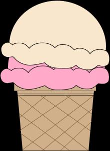 Strawberry and Vanilla Ice Cream Cone