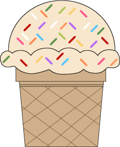 Vanilla Ice Cream Cone with Sprinkles
