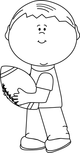 Black and White Black and White Boy Carrying a Football