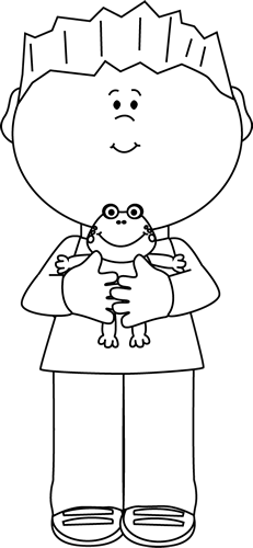 Black and White Black and White Boy Holding a Frog