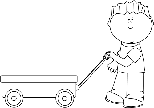 Black and White Black and White Boy Pulling a Wagon