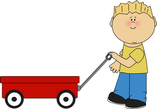 Pulling A Wagon : Boy pulling a wagon clip art image