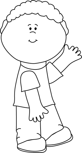 Black and White Boy Waving Clip Art - Black and White Boy ...
