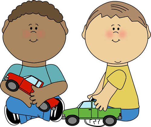 Little Boy Toys Clip Art : Boys playing with trucks clip art