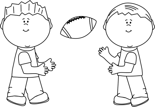 Black And White Boys Throwing A Football Clip Art Black And White