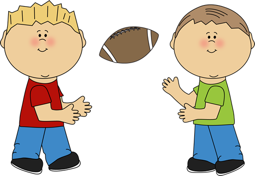 Boys Throwing a Football