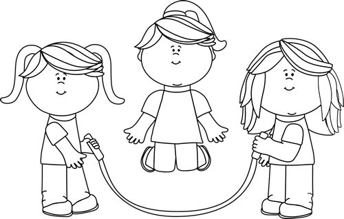 Black and White Black and White Girls Jumping Rope