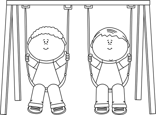 Black and White Kids on a Swing