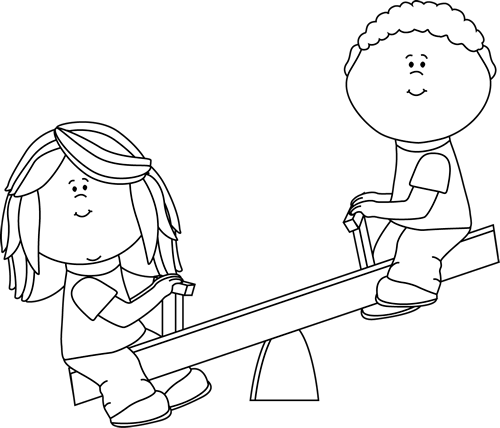 Black and White Kids on Teeter Totter Clip Art - Black and ...