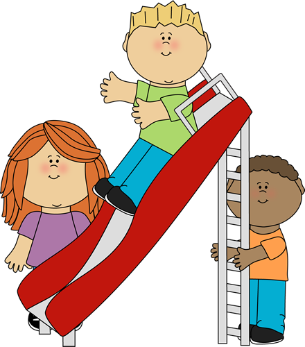 Kids Playing on a Slide Clip Art - Kids Playing on a Slide Image