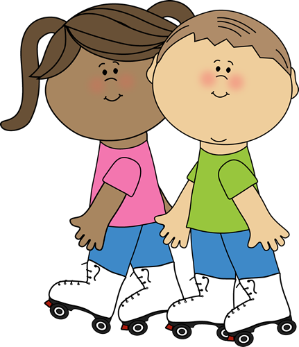 Kids Roller Skating Clip Art Image - two kids roller skating together.