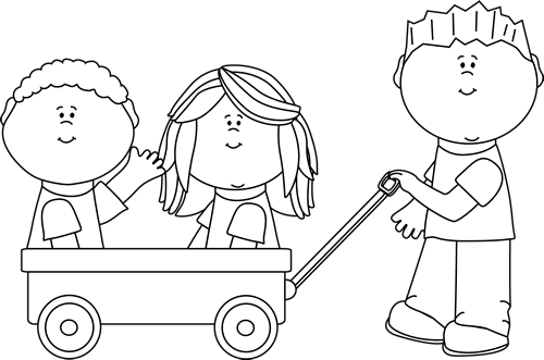 Black and White Kids with Wagon Clip Art - Black and White ...
