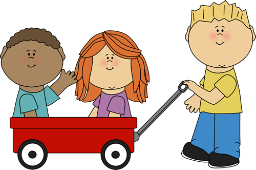 Kids with Wagon