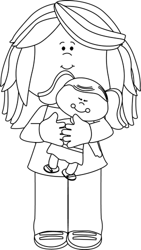 Black and White Black and White Little Girl Holding a Doll