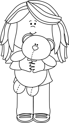 Black and White Girl with Teddy Bear Clip Art - Black and ...Little Girl With Teddy Bear Black And White