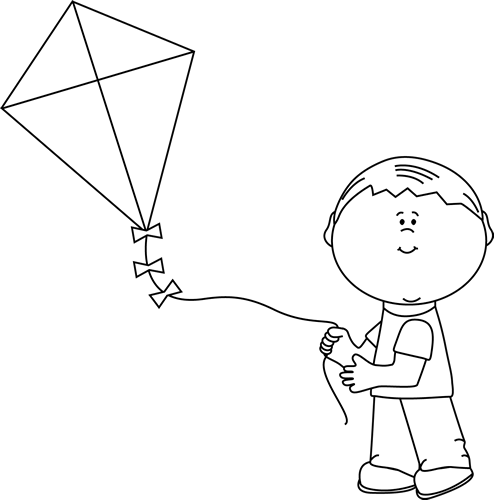 Black and White Boy Flying a Kite