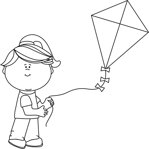 Black and White Girl Flying a Kite