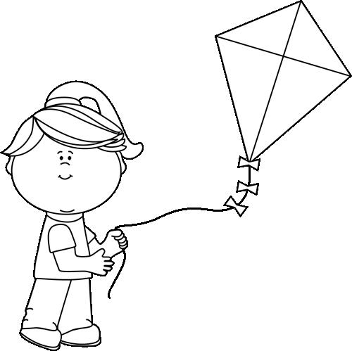 Black and White Black and White Girl Flying a Kite