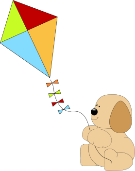 Puppy Flying a Kite