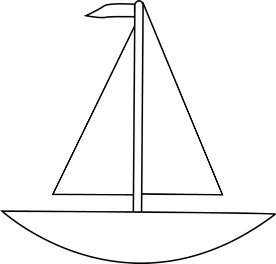 Simple Boat Outline Clipart Black and white boat clip art