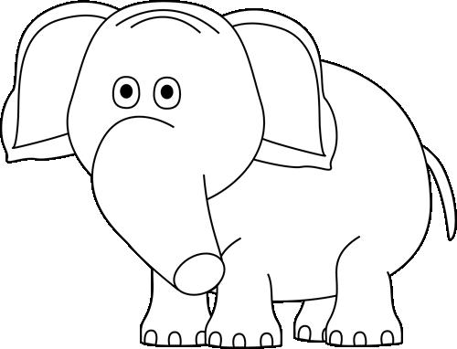 Black and White Elephant Clip Art - Black and White ...