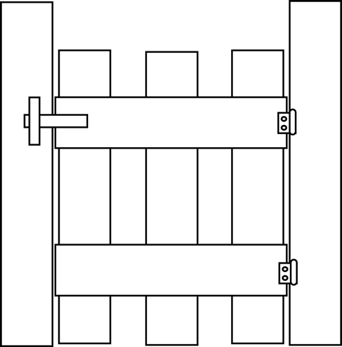 ... and White Gate Clip Art Image - black and white outline of a gate