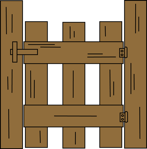 Gate Clip Art Image - brown wooden gate