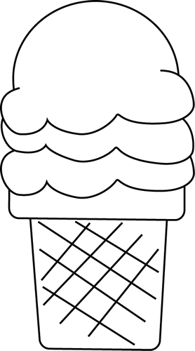 Black and White Ice Cream for I Clip Art - Black and White ...