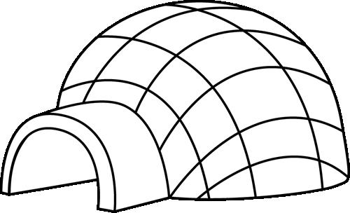 Black and White Igloo Clip Art - Black and White Igloo Image