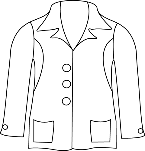 Black and White Jacket Clip Art - Black and White Jacket Image