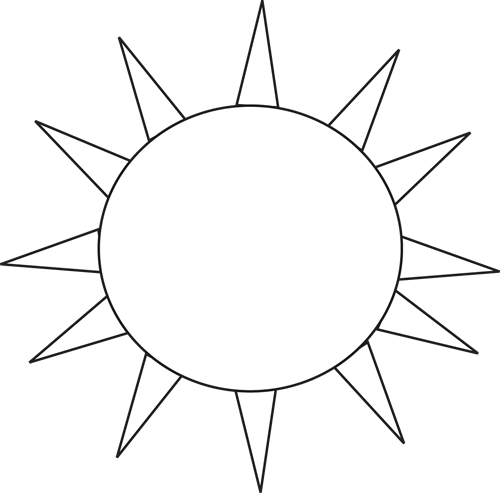 Black and White Sun for Letter S Clip Art - Black and ...