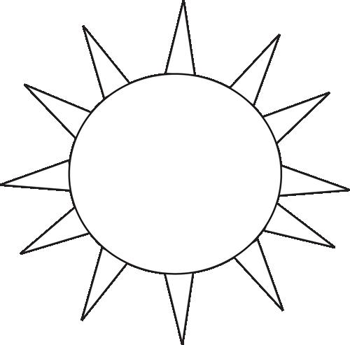 Black And White Sun For Letter S Clip Art Black And White Sun For