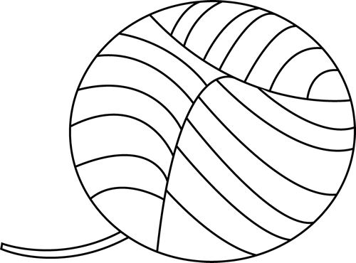 Yarn Clipart Black And White Black and White Yarn C...