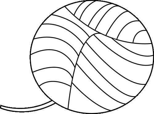 Black and White Yarn Clip Art - Black and White Yarn Image