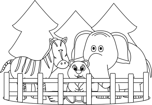 Black and White Zoo Clip Art Image - black and white outline of a zoo    Zoo Clip Art Black And White