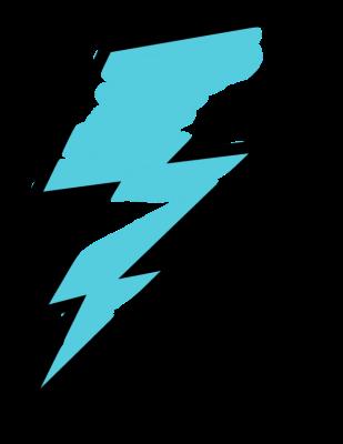 Blue Painted Lightning Bolt