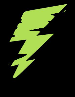 Green Painted Lightning Bolt