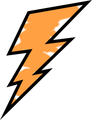 Orange Painted Lightning Bolt