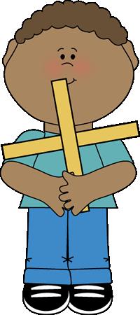 Boy Holding a Math Plus Sign Clip Art