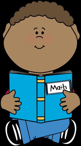 Boy Reading a Math Book Clip Art