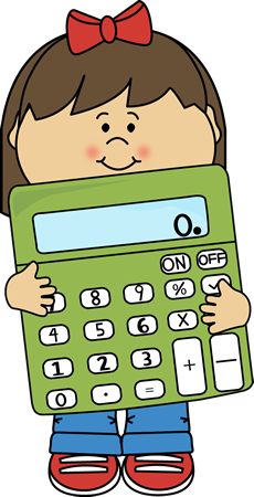 Girl with Calculator Clip Art Image - girl holding a math calculator.